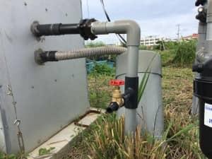 井戸ポンプに分岐パイプを付けたところ