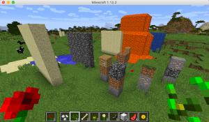 いろんな種類のブロックをPythonコードで設置してみた。マインクラフト